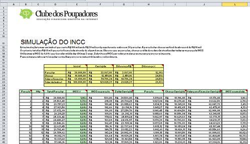 Planilha: Simulação de Reajuste de Prestações pelo INCC