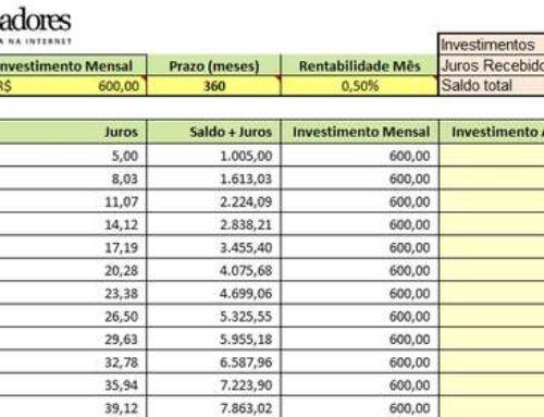 Planilha com simulador de investimento EXCEL
